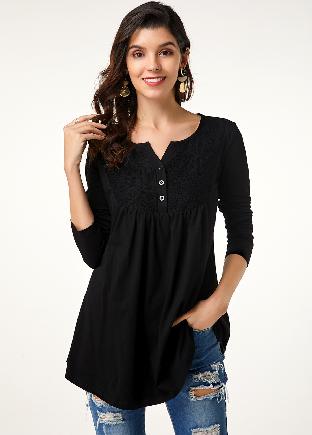 Lace Stitching Button Up Long Sleeve T Shirt