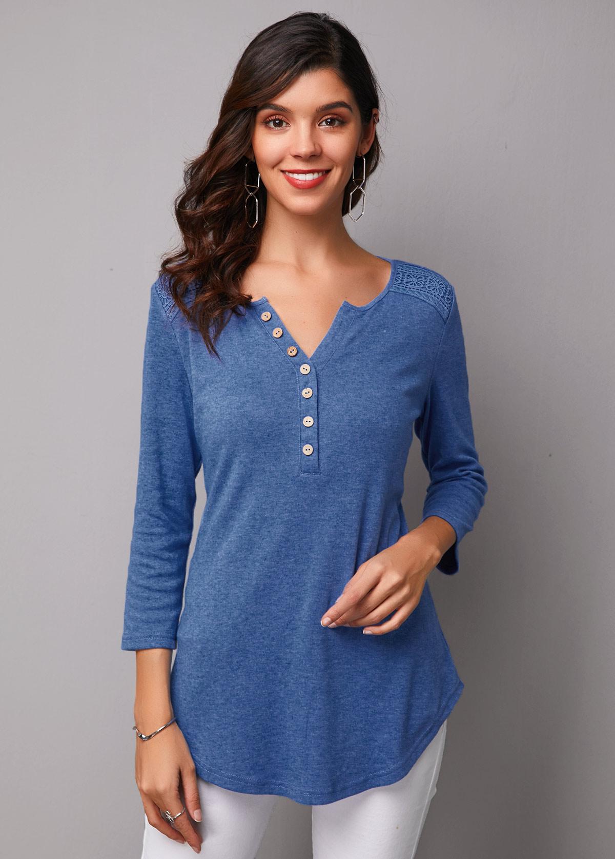 Asymmetric Hem Button Up Three Quarter Sleeve T Shirt
