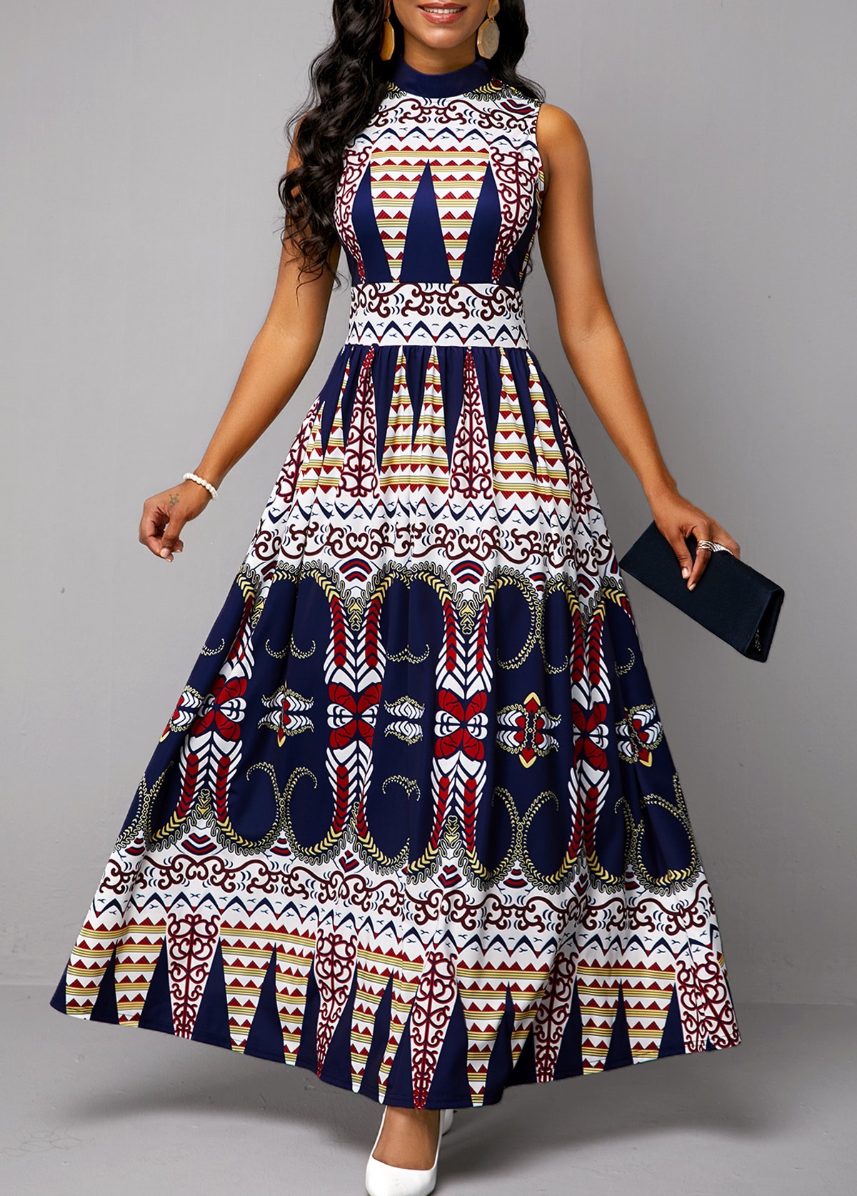 Tribal Print Sleeveless Mock Neck Dress
