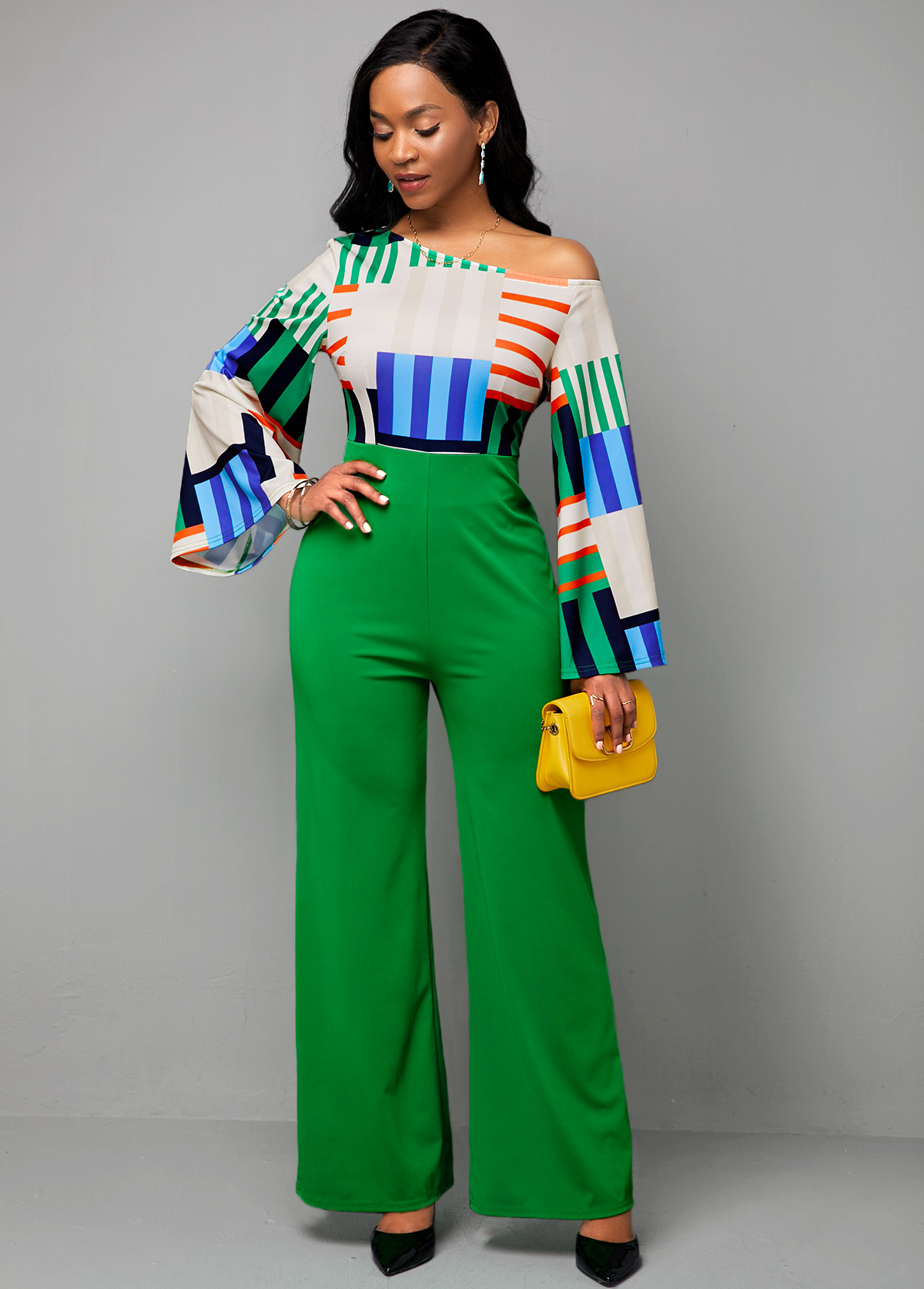 Long Sleeve Rainbow Stripe High Waist Jumpsuit