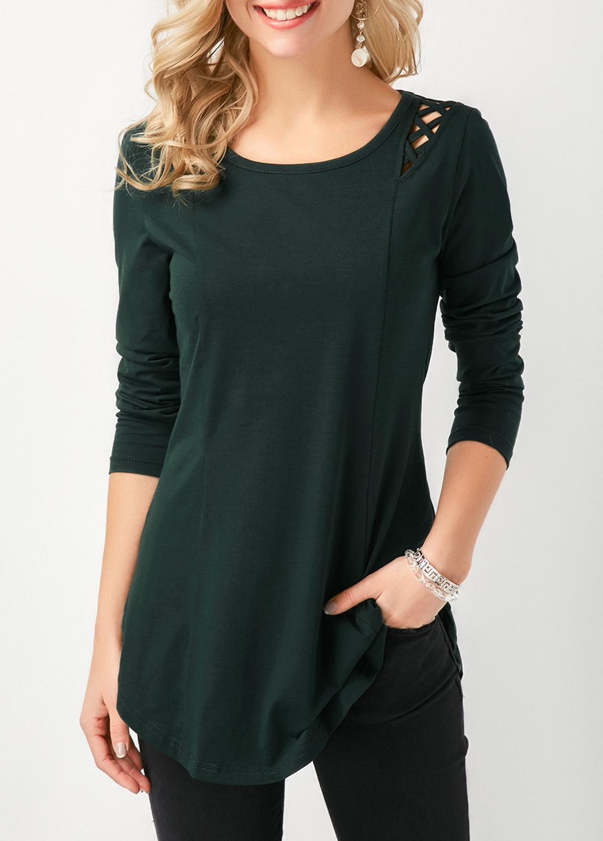 Lace Up Curved Hem Long Sleeve T Shirt