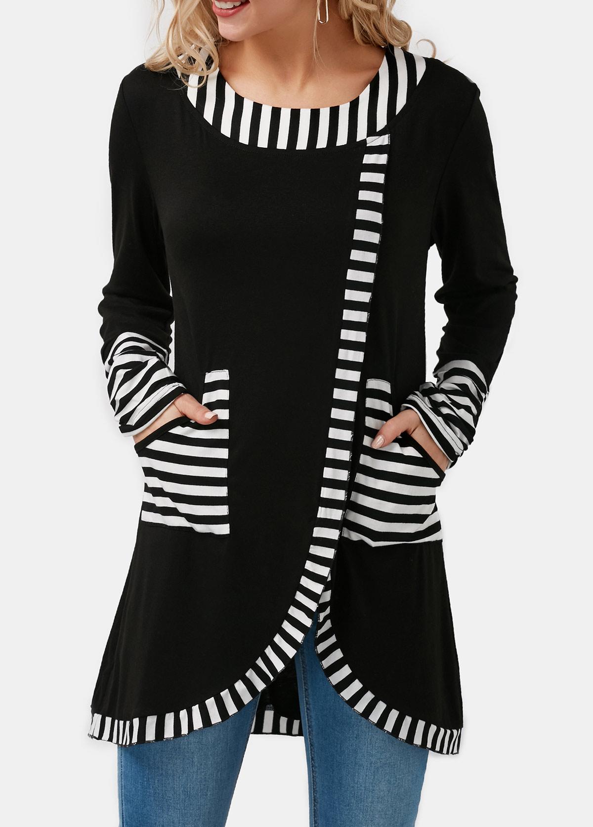 Stripe Print Tulip Hem Pocket Detail T Shirt