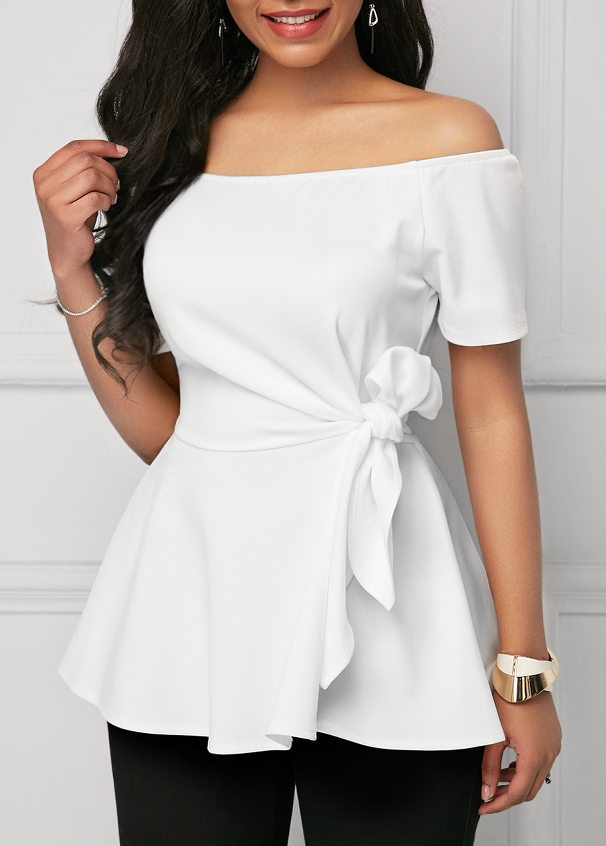 Off the Shoulder Tie Side White Blouse