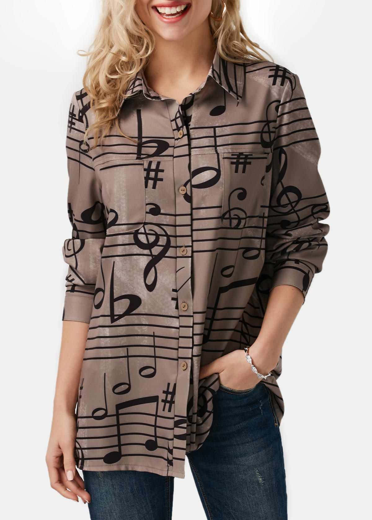 Button Up Music Note Print Turndown Collar Shirt