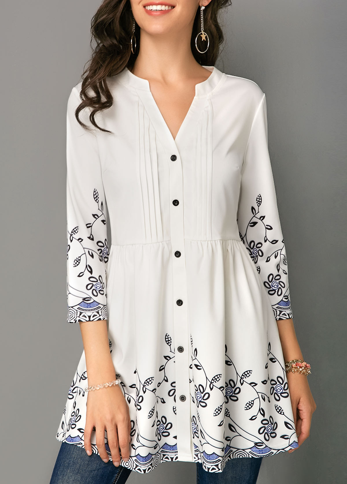 Button Up Crinkle Chest Printed Blouse