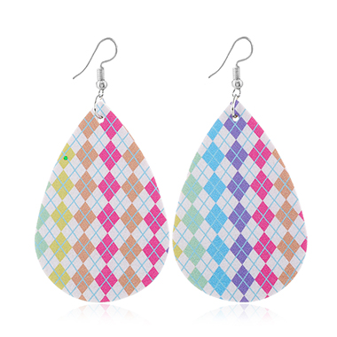 Faux Leather Multi Color Printed Earrings