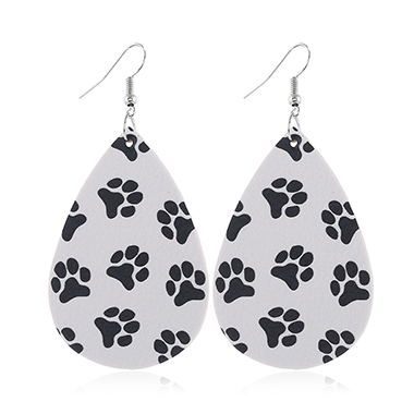 Faux Leather Dog Paw Print White Earring Set