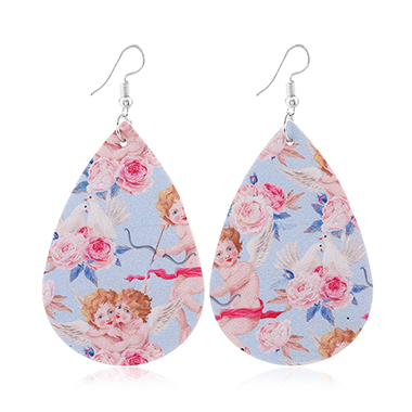 Faux Leather Flower Print Multi Color Earring Set