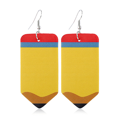 Faux Leather Pencil Shape Yellow Earring Set