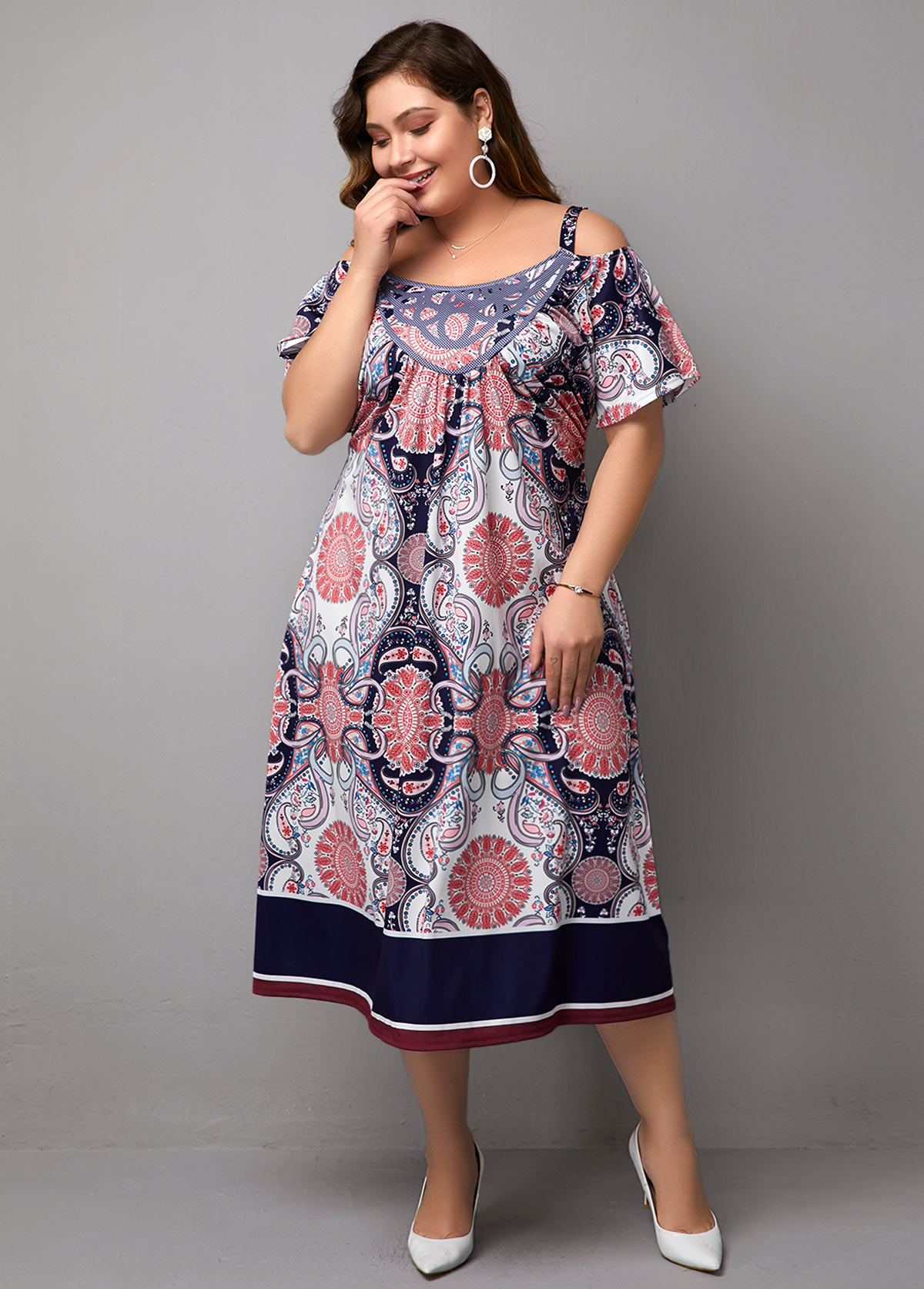 Cold Shoulder Printed Plus Size Dress