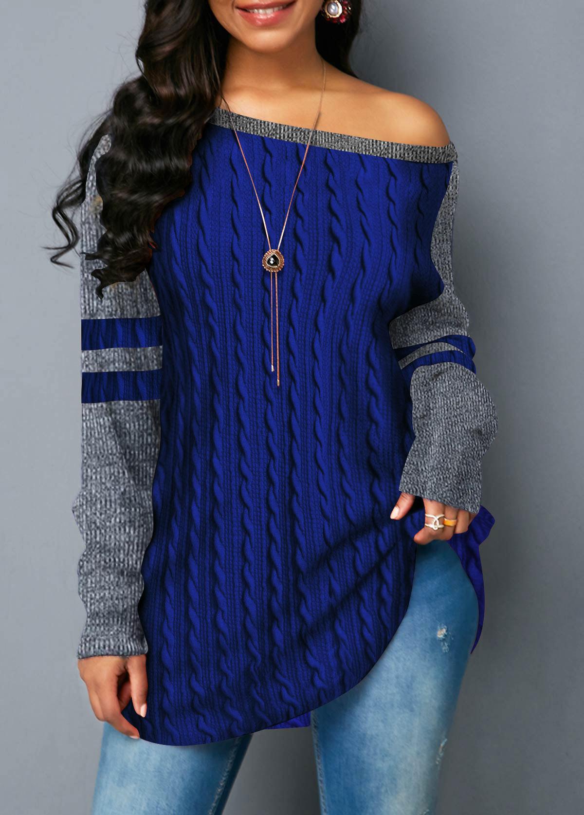 Round Neck Long Sleeve Navy Blue Sweatshirt