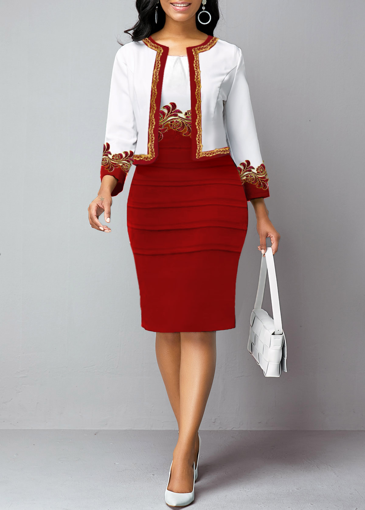 Open Front Cardigan and Sheath Dress