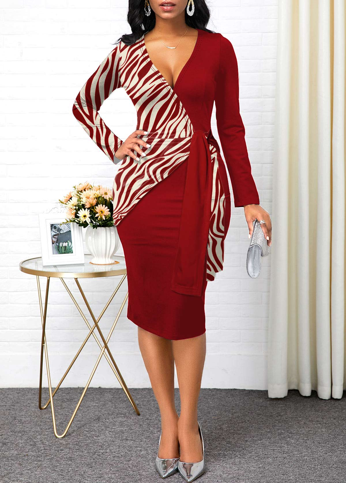 Zebra Print Plunging Neck Long Sleeve Dress