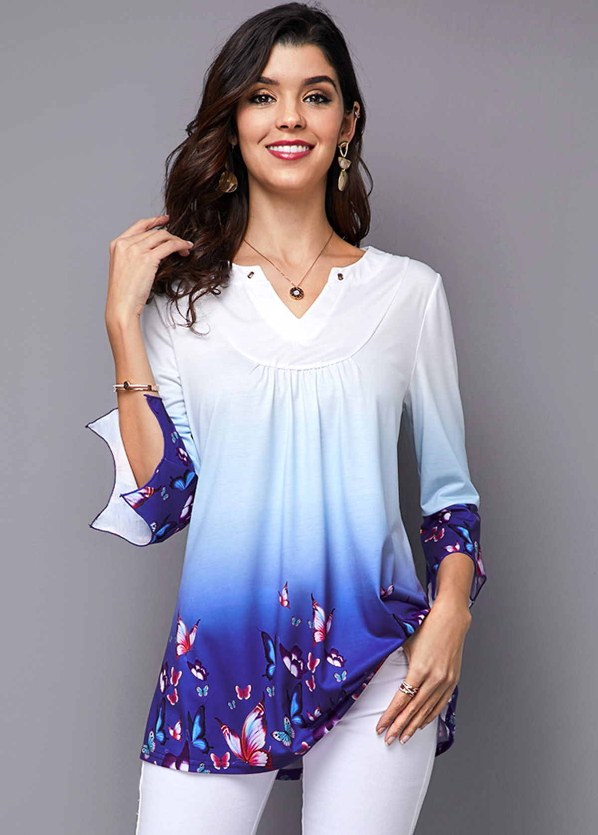Three Quarter Sleeve Printed Gradient T Shirt