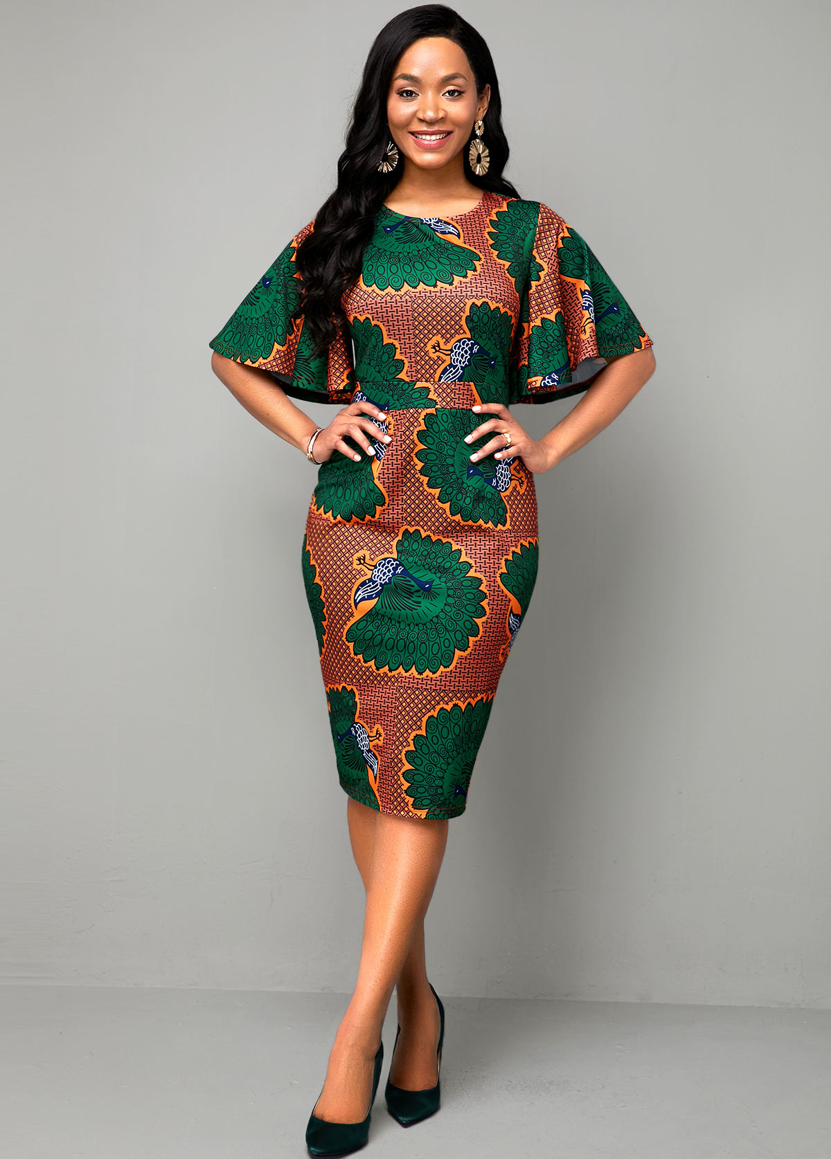 Round Neck Ethnic Print Multi Color Dress