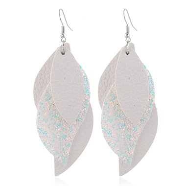 Layered Faux Leather Sequin Detail Earrings for Women