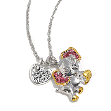 Rhinestone Baby Elephant Shape Silver Metal Necklace