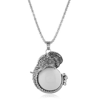 Ancient Silver Wihte Jade Fish Design Necklace