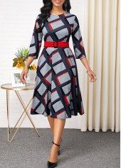 Plaid Print Belted Long Sleeve Round Neck Dress