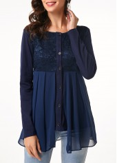 Lace Patchwork Button Up Long Sleeve Blouse