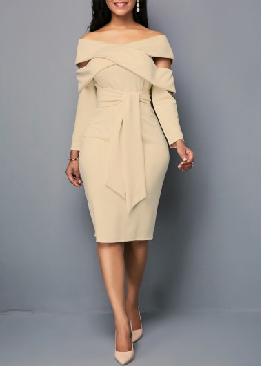 Khaki Long Sleeve Belted Off The Shoulder Sheath Zipper Back Light Khaki Belted Sheath Dress - L