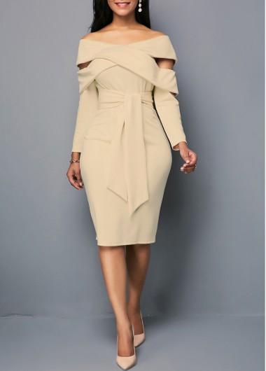 Khaki Long Sleeve Belted Off The Shoulder Sheath Zipper Back Light Khaki Belted Sheath Dress - XXL