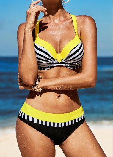 Criss Cross Back Stripe Print Bikini Set - XXL