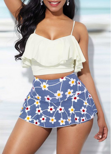 Spaghetti Strap White Ruffle Overlay Top and Printed Pantskirt - L