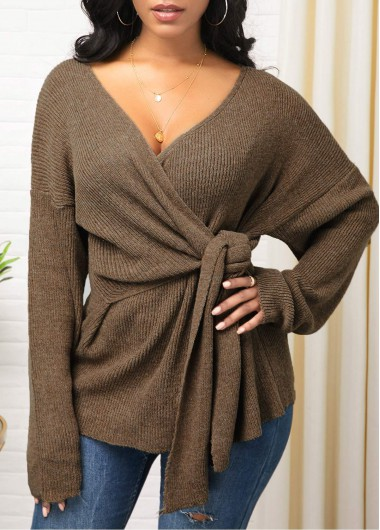 Knot Detail Plunging Neck Long Sleeve Sweater - L