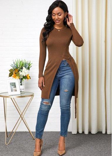 Long Sleeve Round Neck Side Slit Sweater - L