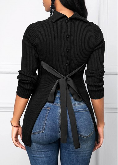 Button Decorated Tie Back Black Sweater - L