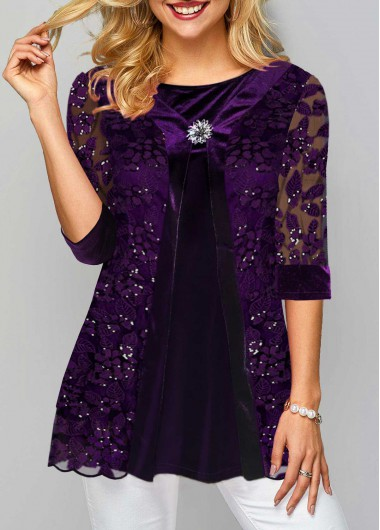 Purple 3/4 Sleeve Lace Panel Tunic Top Sequin New Year Eve Shirt Top - L