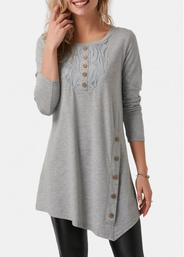 Asymmetric Hem Button Detail Light Grey T Shirt - L