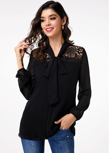 Lace Panel Tie Front Black Long Sleeve Blouse - 10