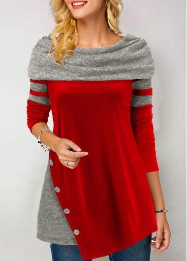 Asymmetric Hem Button Detail Cowl Neck T Shirt - L
