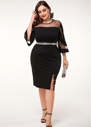 Mesh Patchwork Side Slit Black Plus Size Dress - 16W