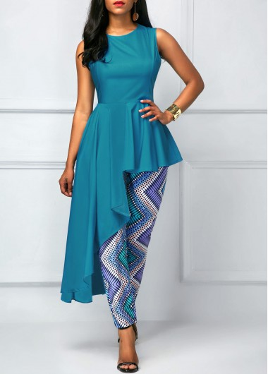 Sleeveless Ruffle Overlay Blue Printed Jumpsuit - 16