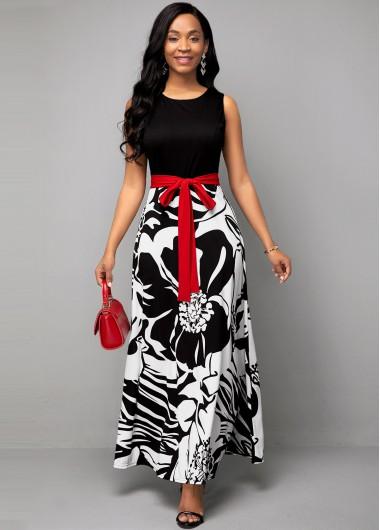 Flower Print Belted Round Neck Dress - 10