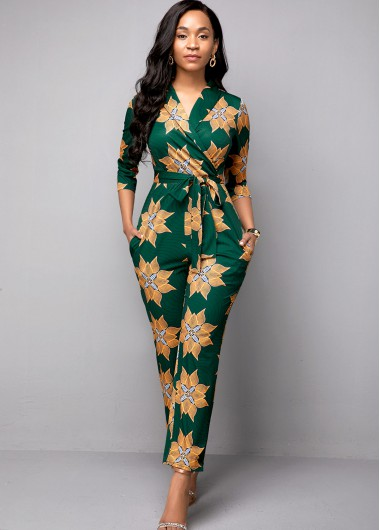 Belted Tribal Print Side Pocket Jumpsuit - 10