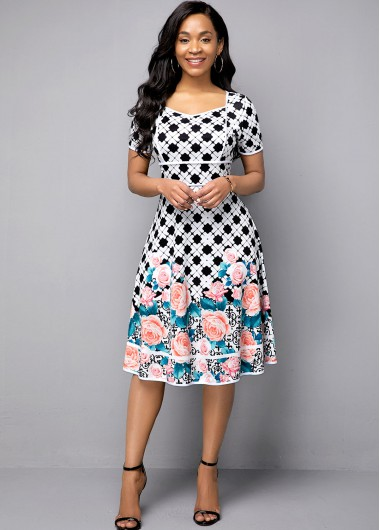 Flower Print Short Sleeve High Waist Dress - 10