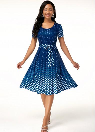 Polka Dot Print Belted Short Sleeve Dress - 10
