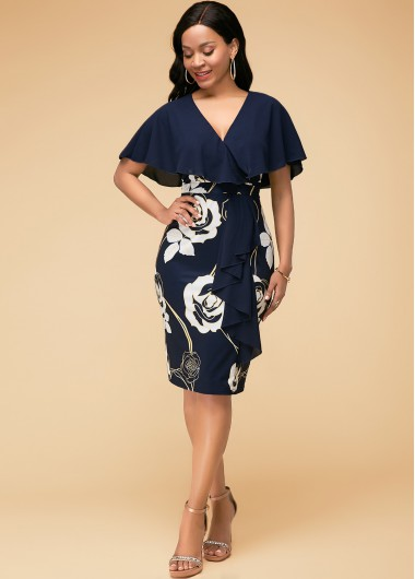 Navy Blue Flower Print Half Sleeve Dress - 10