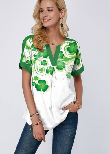 St. Patrick'S Day  Clover Print Split Neck Short Sleeve T Shirt - L