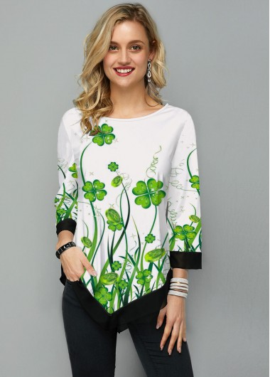 St. Patrick'S Day Clover Print Asymmetric Hem Three Quarter Sleeve T Shirt - L