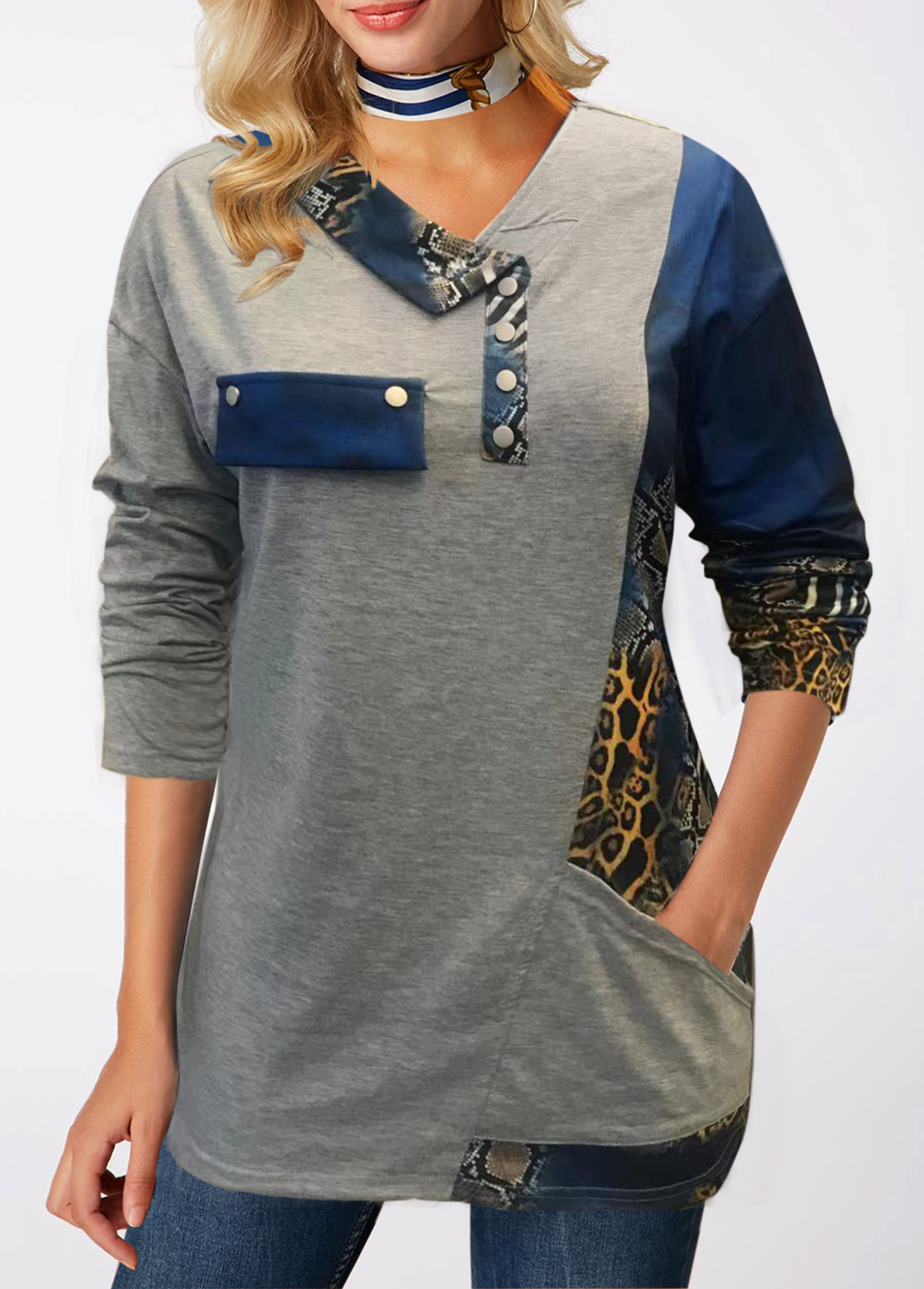 Pocket Printed Long Sleeve T Shirt