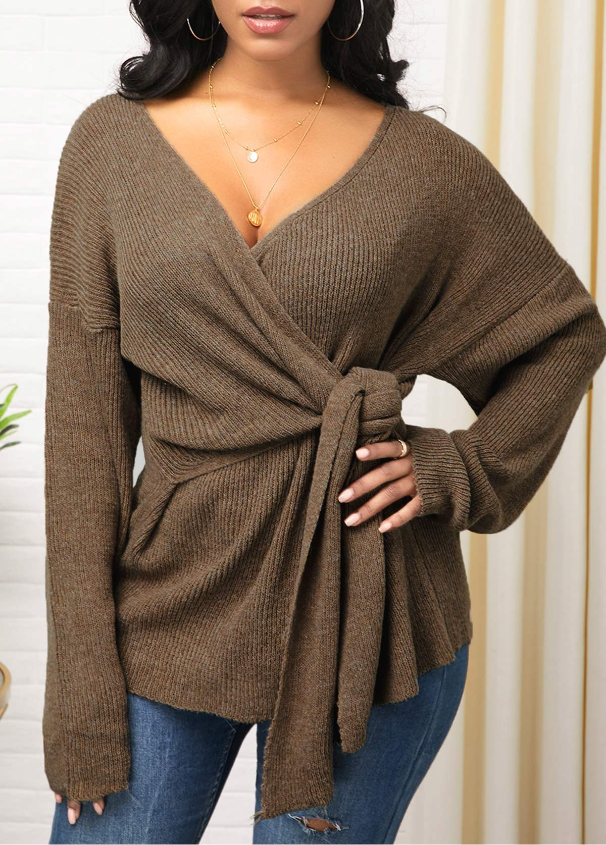 Knot Detail Plunging Neck Long Sleeve Sweater