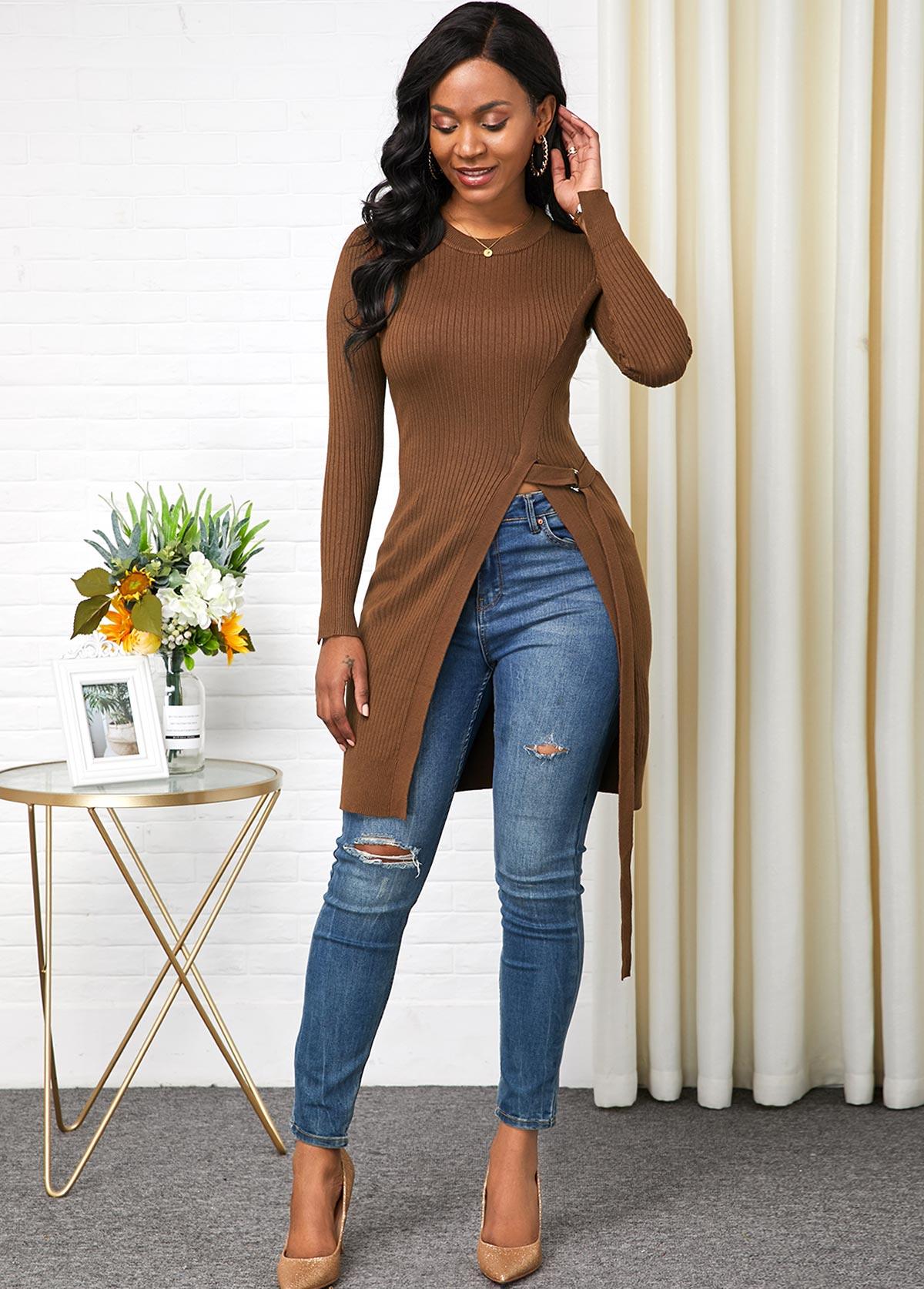 Long Sleeve Round Neck Side Slit Sweater