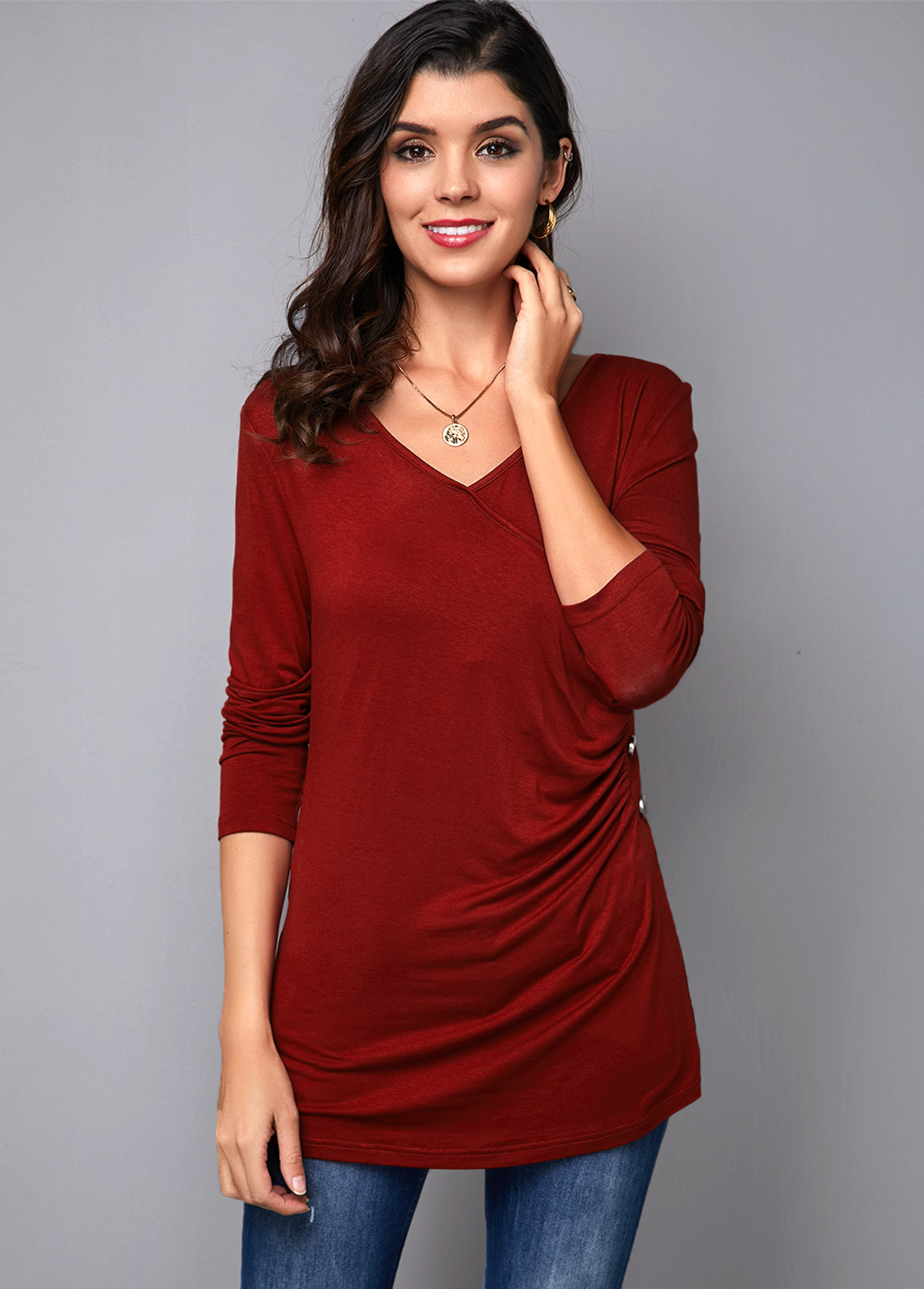V Neck Wine Red Button Detail T Shirt