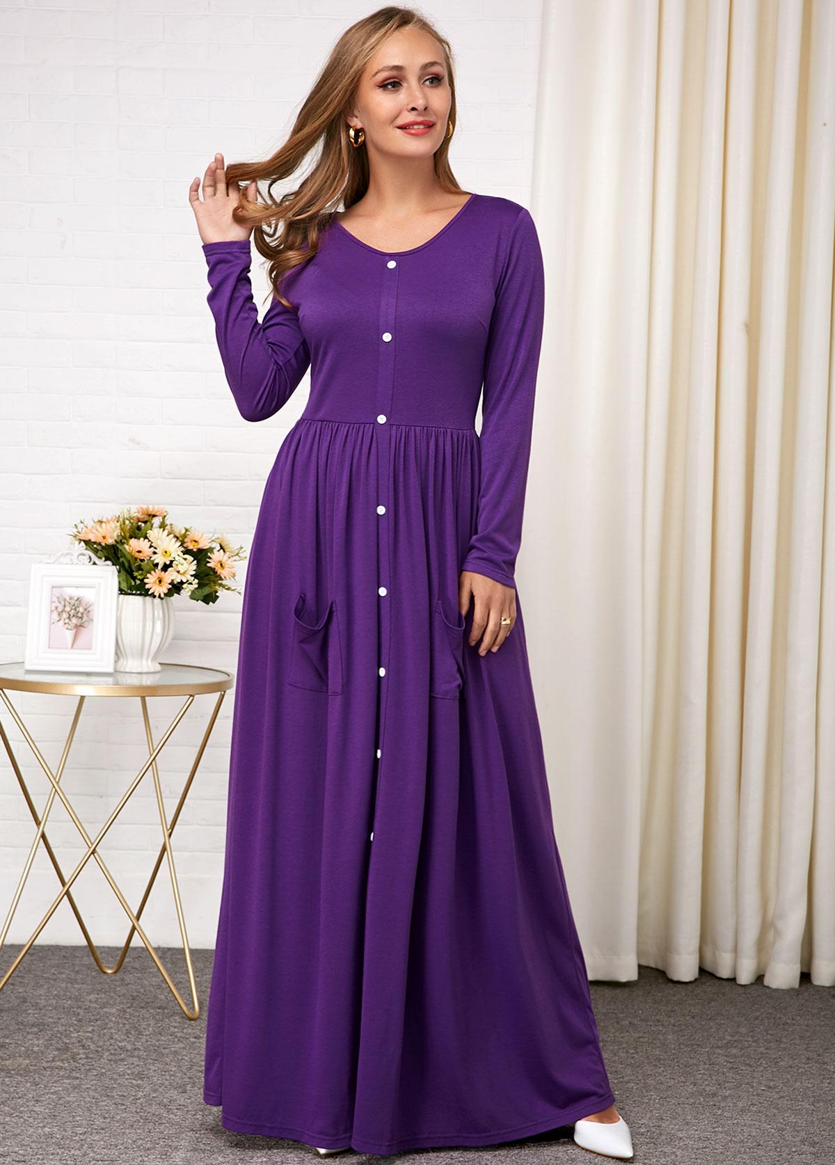 Button Detail Purple Round Neck Dress