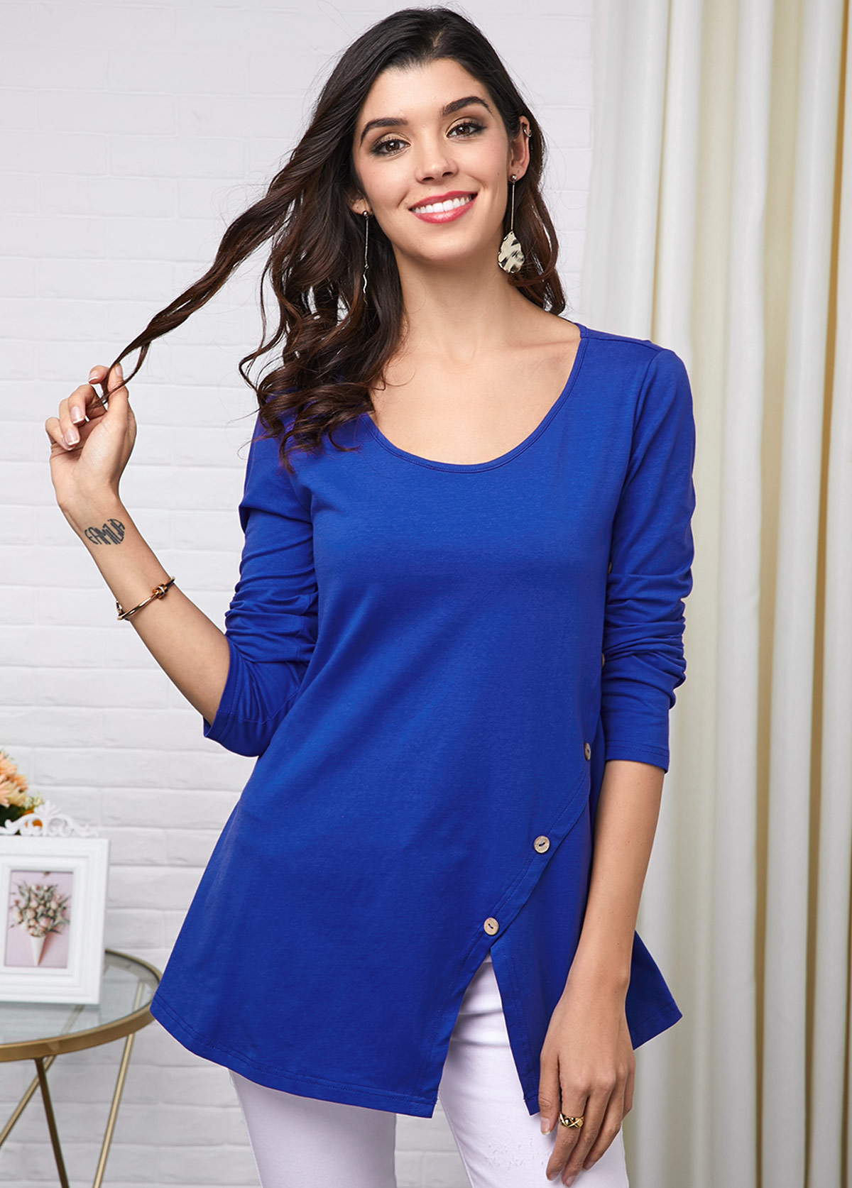 Royal Blue Button Detail Round Neck T Shirt